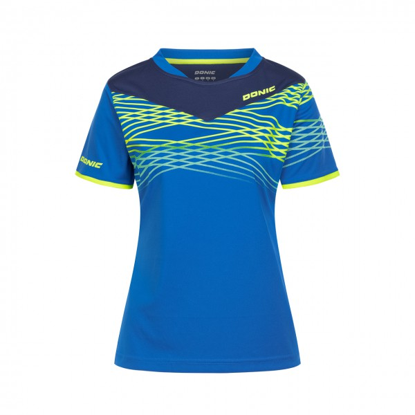 Tischtennis DONIC Shirt Clash Lady blau Brust