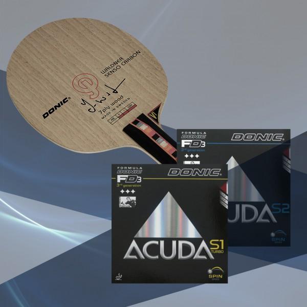Komplettschläger DONIC Waldner Senso Carbon / Acuda S1 Turbo / Acuda S2