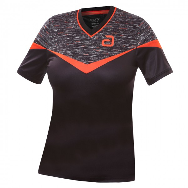 andro Tischtennis Hemd Teslin Women schwarz/rot Brust